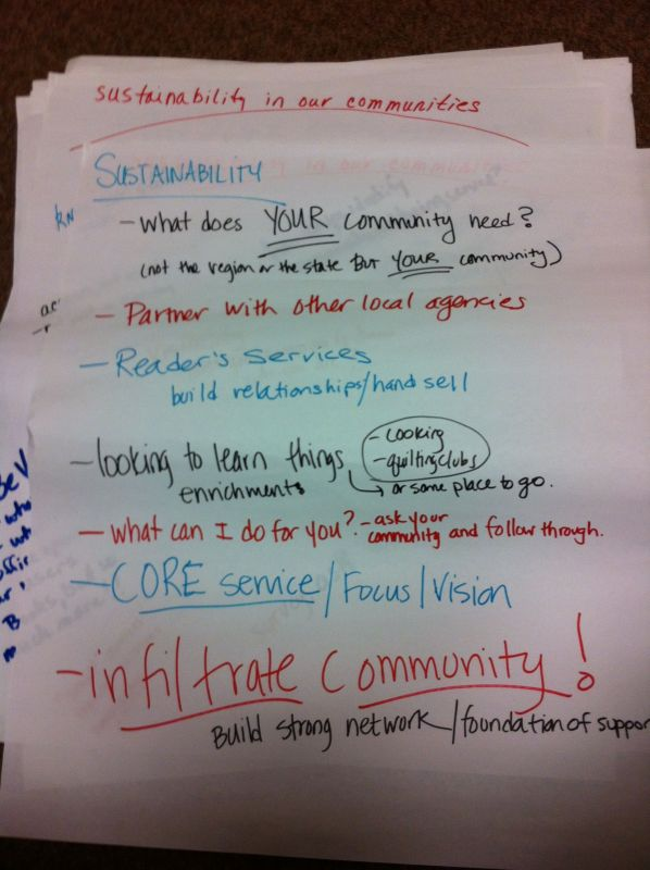 Page one from the second Library Sustainability discussion